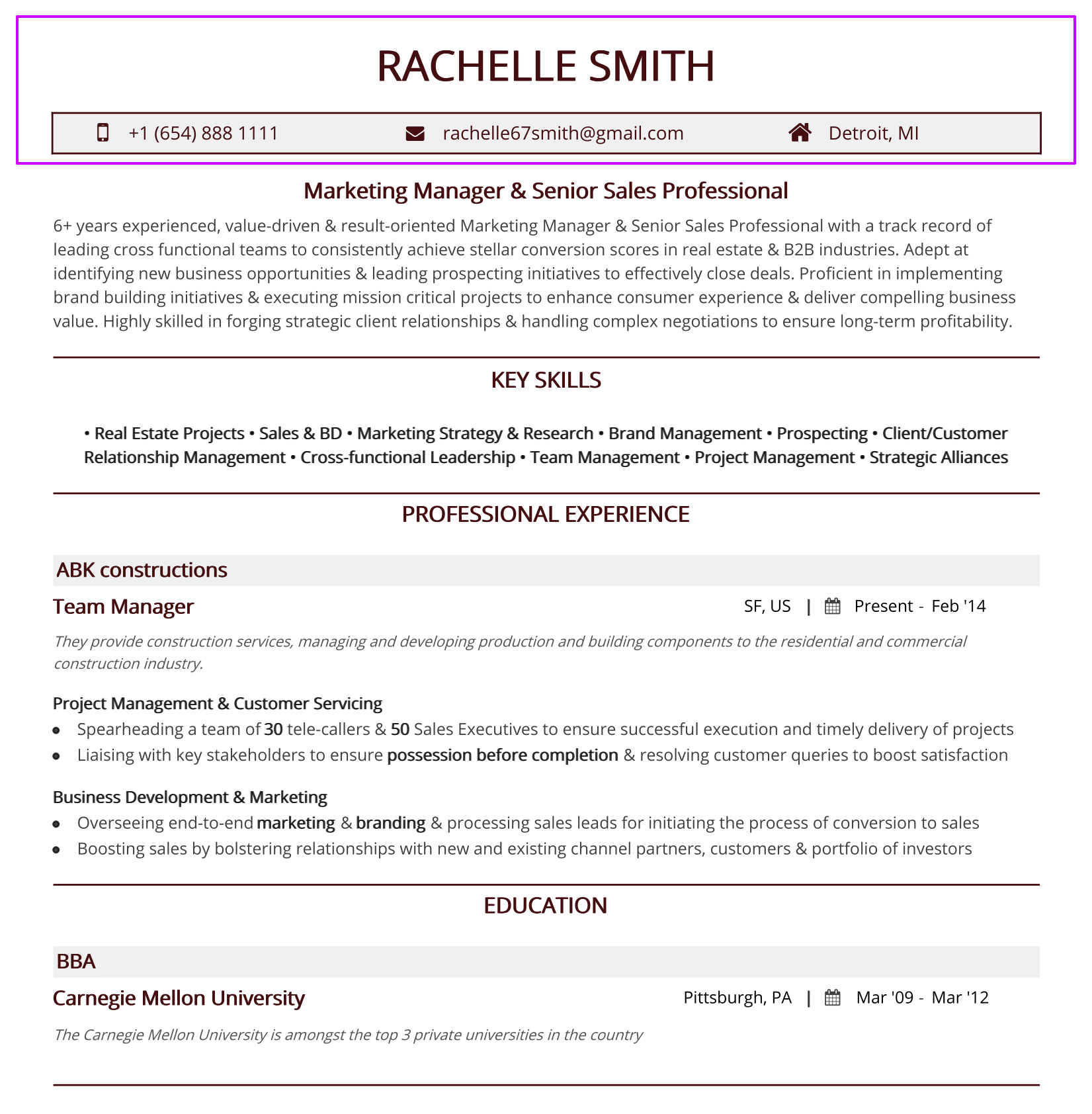 Two Page Resume Header Resume Header 2019 Guide To Contact Information In