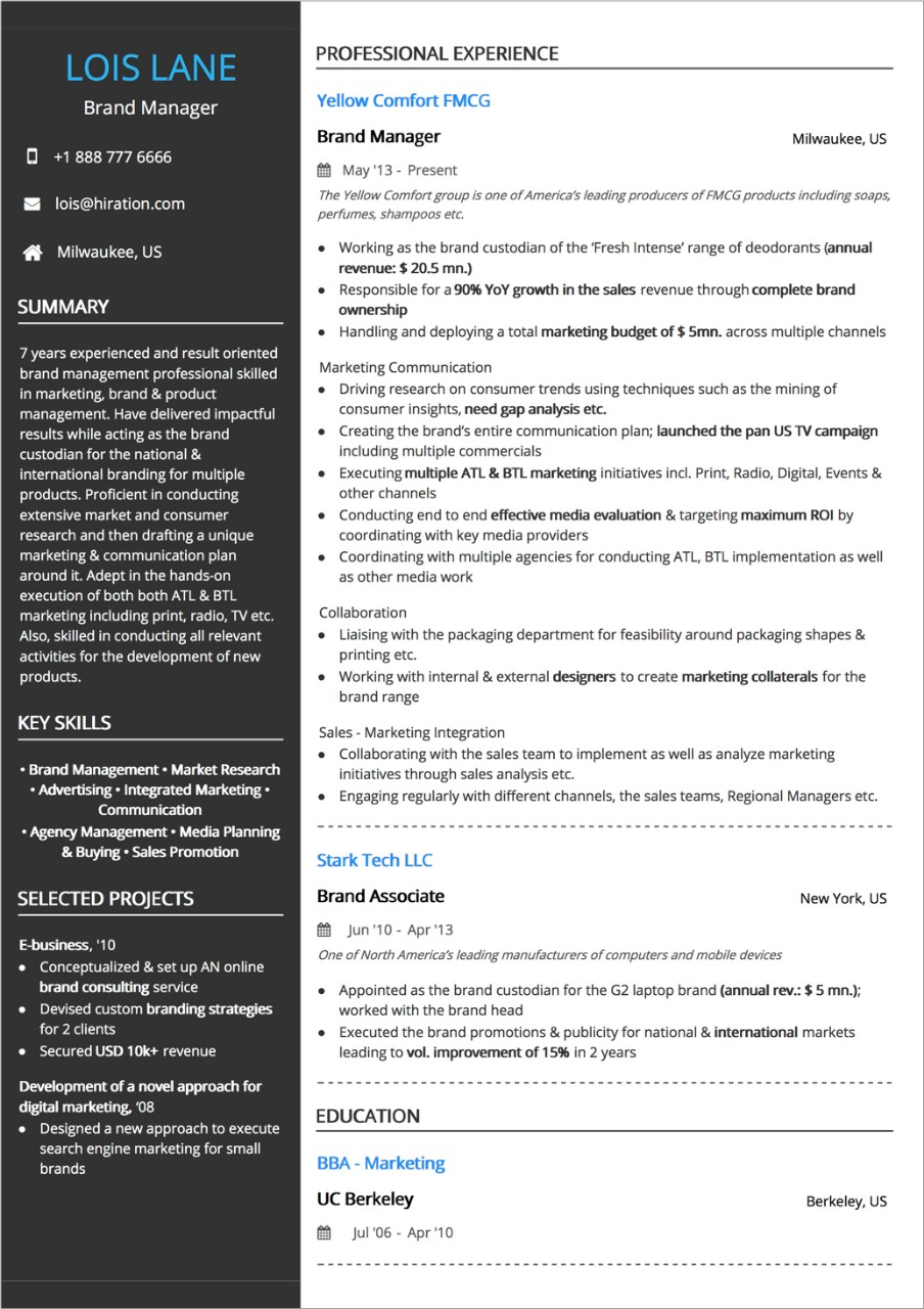 resume sample current combination