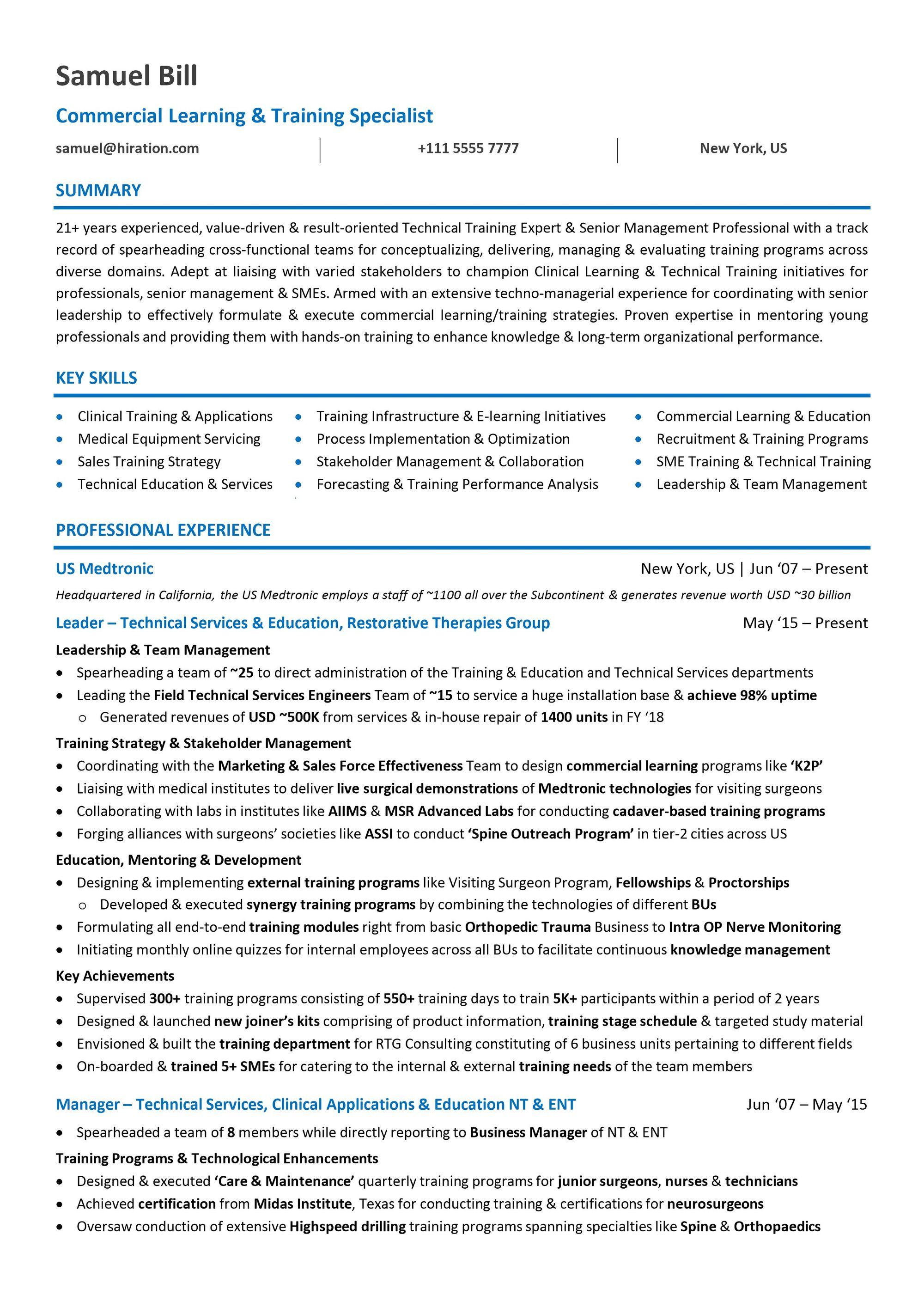mid level resume samples