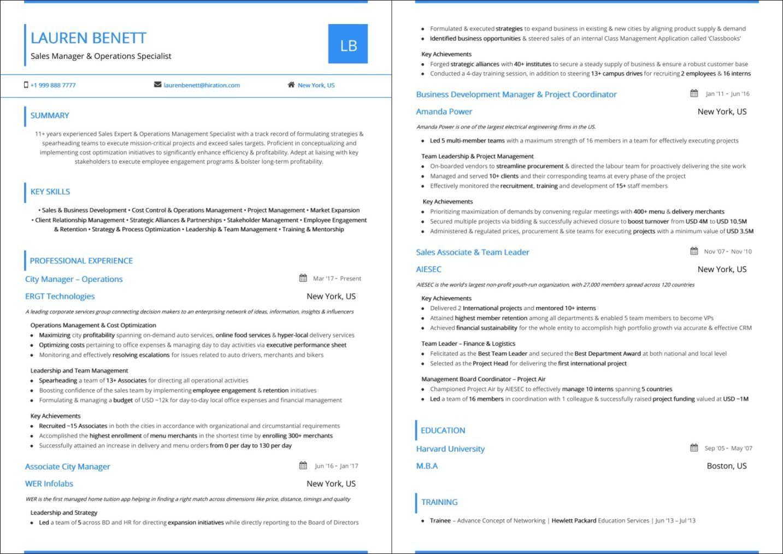 sample resume for regional head