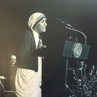 Mother Teresa, addressing the John Carroll University community during her 1978 visit to the campus.
