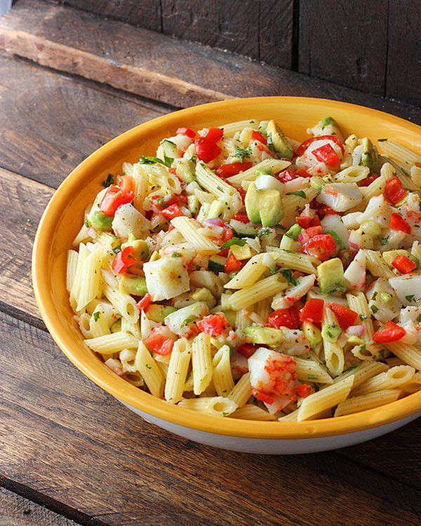 Avocado and Crab Pasta Salad with Grapefruit Tarragon Vinaigrette from SoupAddict.com