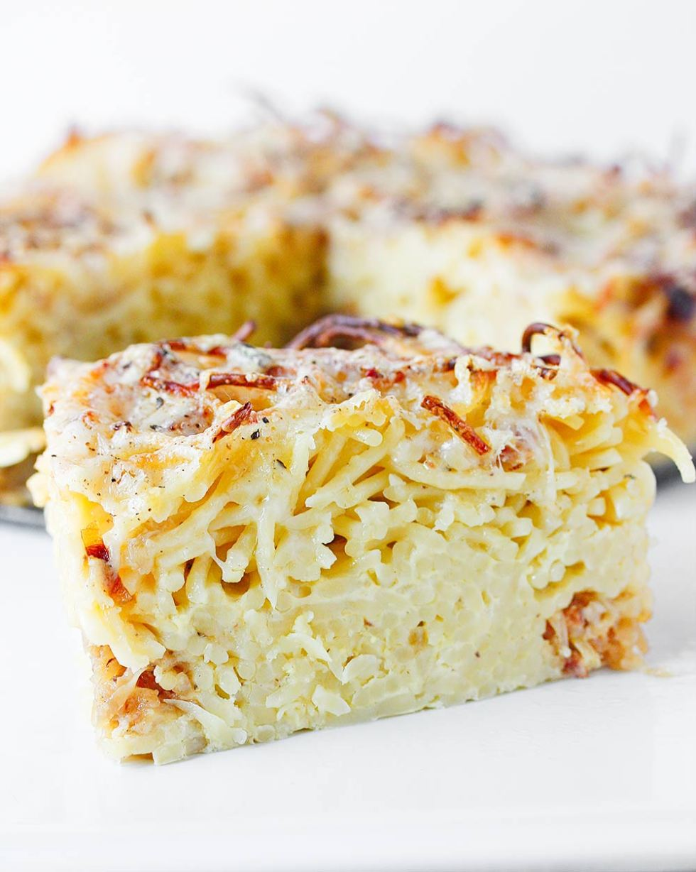 Three Cheese Caramelized Onion Spaghetti Pie from SoupAddict.com