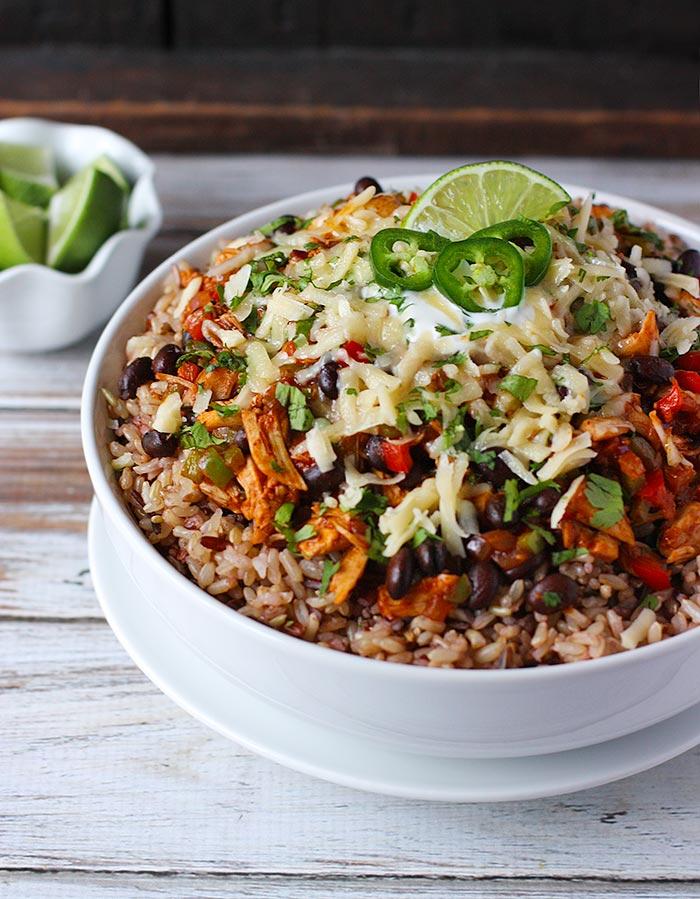 Cheesy Chicken Enchilada Bowls | SoupAddict.com