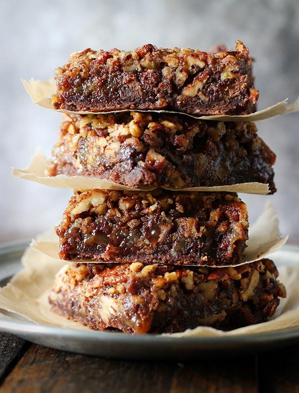 Chocolate Caramel Pecan Pie Bars by SoupAddict.com