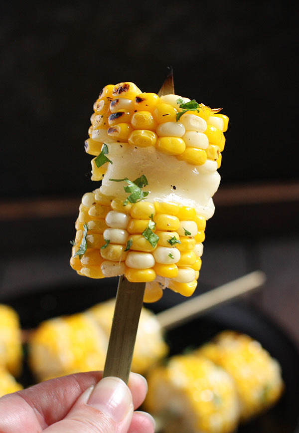 Grilled Corn Kebabs with Salty Cheese from SoupAddict.com
