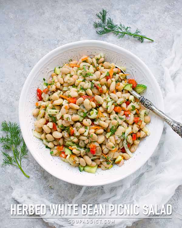Herbed White Bean Picnic Salad with Lemon Dill Miso Dressing - Recipe at SoupAddict.com