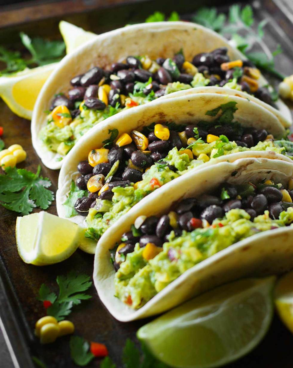 Loaded Guacamole Vegetarian Tacos from SoupAddict.com