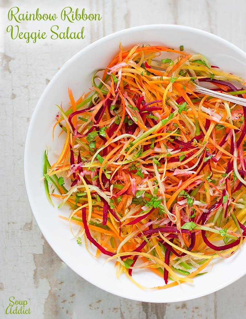 Rainbow Ribbon Veggie Salad from SoupAddict.com