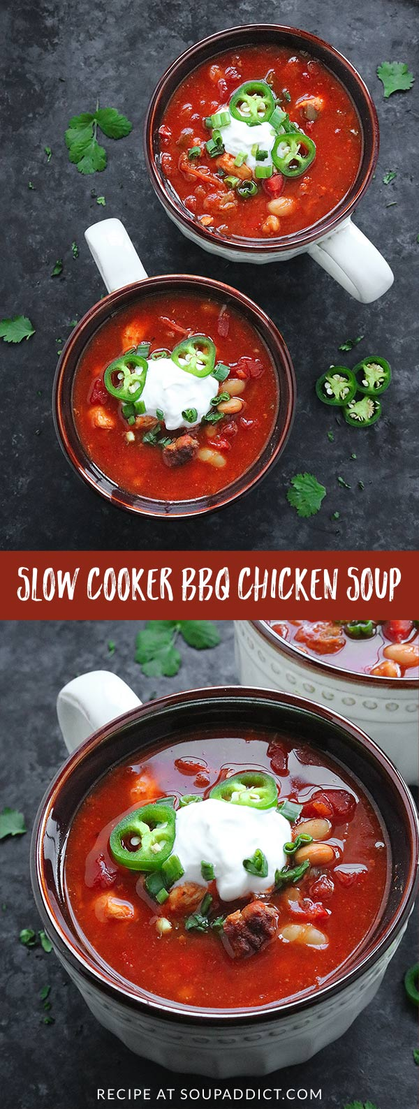 Game Day Slow Cooker BBQ Chicken Soup - A hearty barbecue chicken soup that's make-ahead easy in the slow cooker. Perfect for a game day meal, or as a side to appetizers and finger foods. Recipe at SoupAddict.com | slow cooker soup | slow cooker soup recipes | slow cooker chicken soup | crock pot soup | bbq chicken | super bowl | super bowl food | game day food