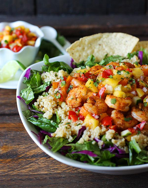 Spicy Shrimp with Sweet and Zesty Mango Salsa Cinco De Mayo Bowls from SoupAddict.com