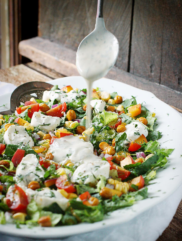 Summer Chopped Salad with Burrata and Dreamy Dill Buttermilk Dressing from SoupAddict.com