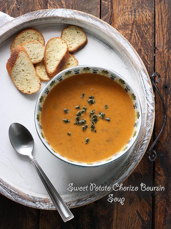 Sweet Potato Chorizo Boursin Soup from @SoupAddict