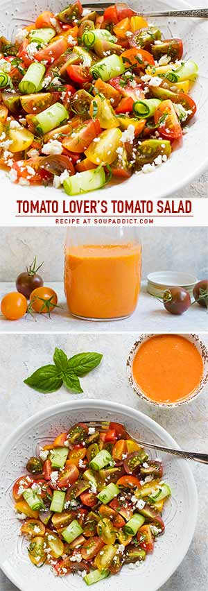 Tomato Lover's Tomato Salad with Smoky Tomato Dressing - Recipe at SoupAddict.com   vegetarian