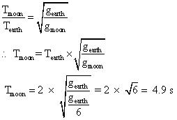 The time period of a simple pendulum on earth is 2 s. What