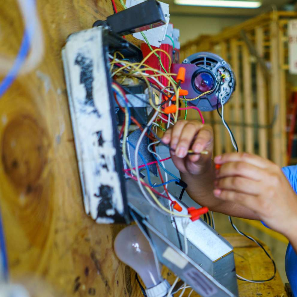 hight resolution of an electrician checks wiring