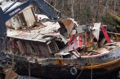Excavators demolish the tug Challenger on March 7, 2016 (Photo by Mikko Wilson/KTOO)