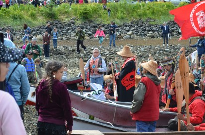 Lt. Gov. Byron Mallott joined the canoe from Yakutat for the final stretch to Douglas. (Photo by Emily Kwong/KCAW)