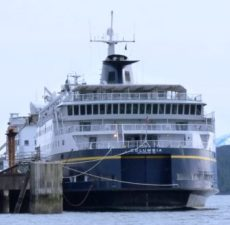 The ferry Columbia is tied up at the Ketchikan Shipyard in February, 2012.