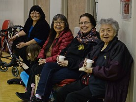 Gold Medal fans, left-to-right, Carolyn Noe, Leona Santiago, Ilene DePoe and Gloria McKinley at the Juneau Lions Club 71st Annual Gold Medal Basketball Tournament at Juneau-Douglas High School on Thursday. (Photo courtesy Klas Stolpe)