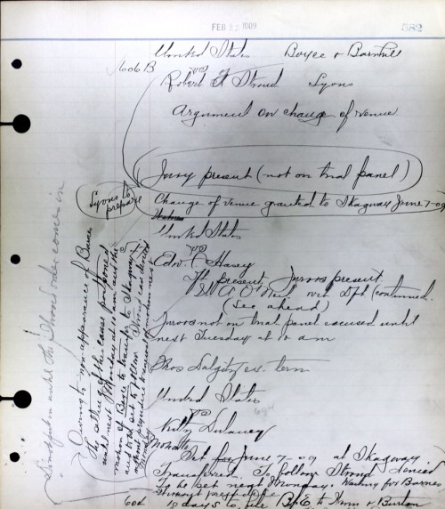 In this example of the many court documents found in the state's archives, Robert Stroud's defense attorney and the prosecutor appear in U.S. District Court on Feb. 23, 1909. They argue over changing the trial location to Skagway on June 7, 1909. At the bottom of the page, 'Kitty Dulaney', who was initially charged as an accessory to the murder, has her own case continued to the following Monday.