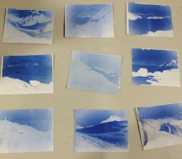 Hannah Perrine Mode's cyanotype photographs were created by brushing paper with chemicals and then exposing the paper in her camera for as much as 12 hours.