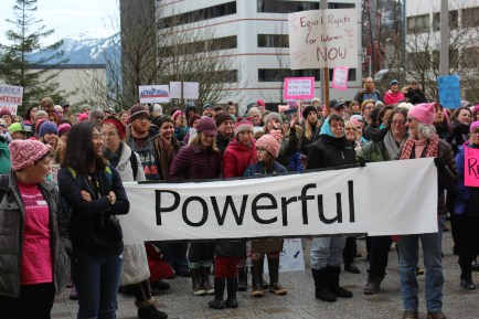 Protesters gather outside the Alaska State Capitol for the Women's March on Juneau on Jan. 20, 2018. (Photo by Adelyn Baxter/KTOO)