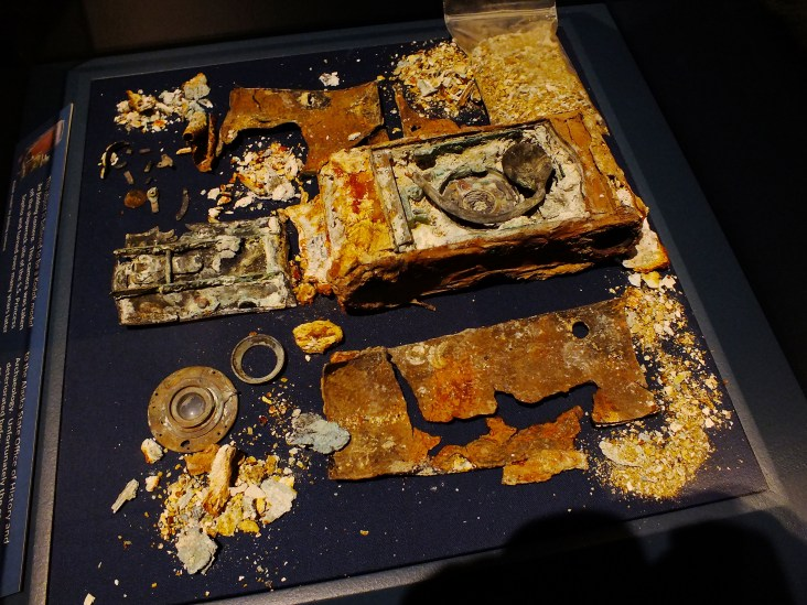 Folding camera believed to be Kodak model 3A that was allowed to deteriorate after it was recovered from wreck of S.S. Princess Sophia.