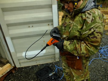 Special camera for searching in confined spaces is prepared for use during an urban search and rescue exercise in Juneau on April 12, 2019.