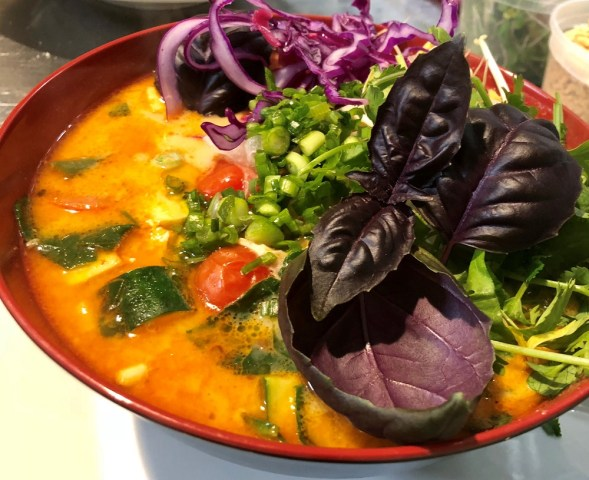 Abby LaForce's spicy coconut, ginger and chicken glass noodle soup with Juneau Greens' purple basil. (Photo courtesy of Abby LaForce)