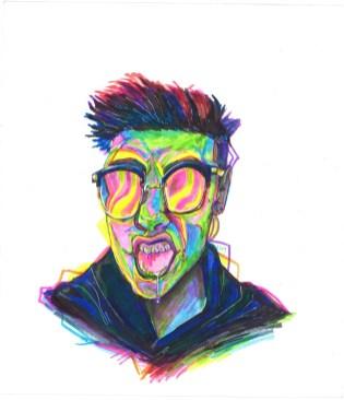 "Adam Nelson's ""Self-Portrait"" in markers. (Courtesy of Heather Ridgeway)"