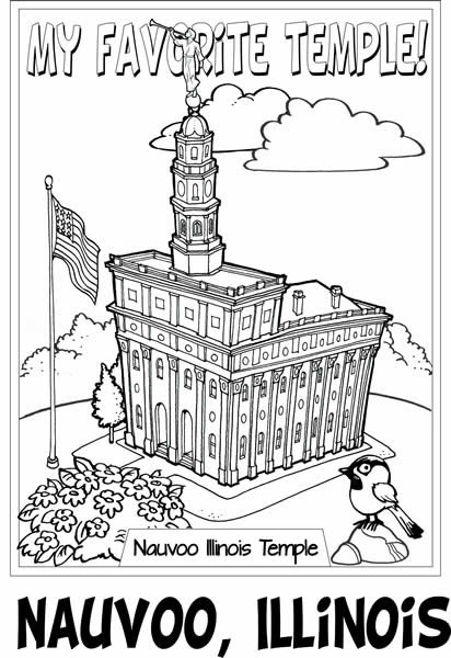 Nauvoo Illinois Temple 36x24 Coloring Poster in LDS Kids