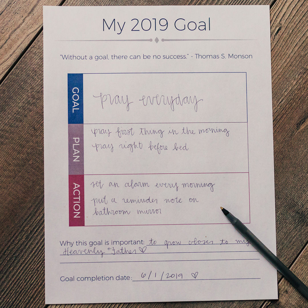 Lds Goal Setting Worksheet In Lds Discontinued