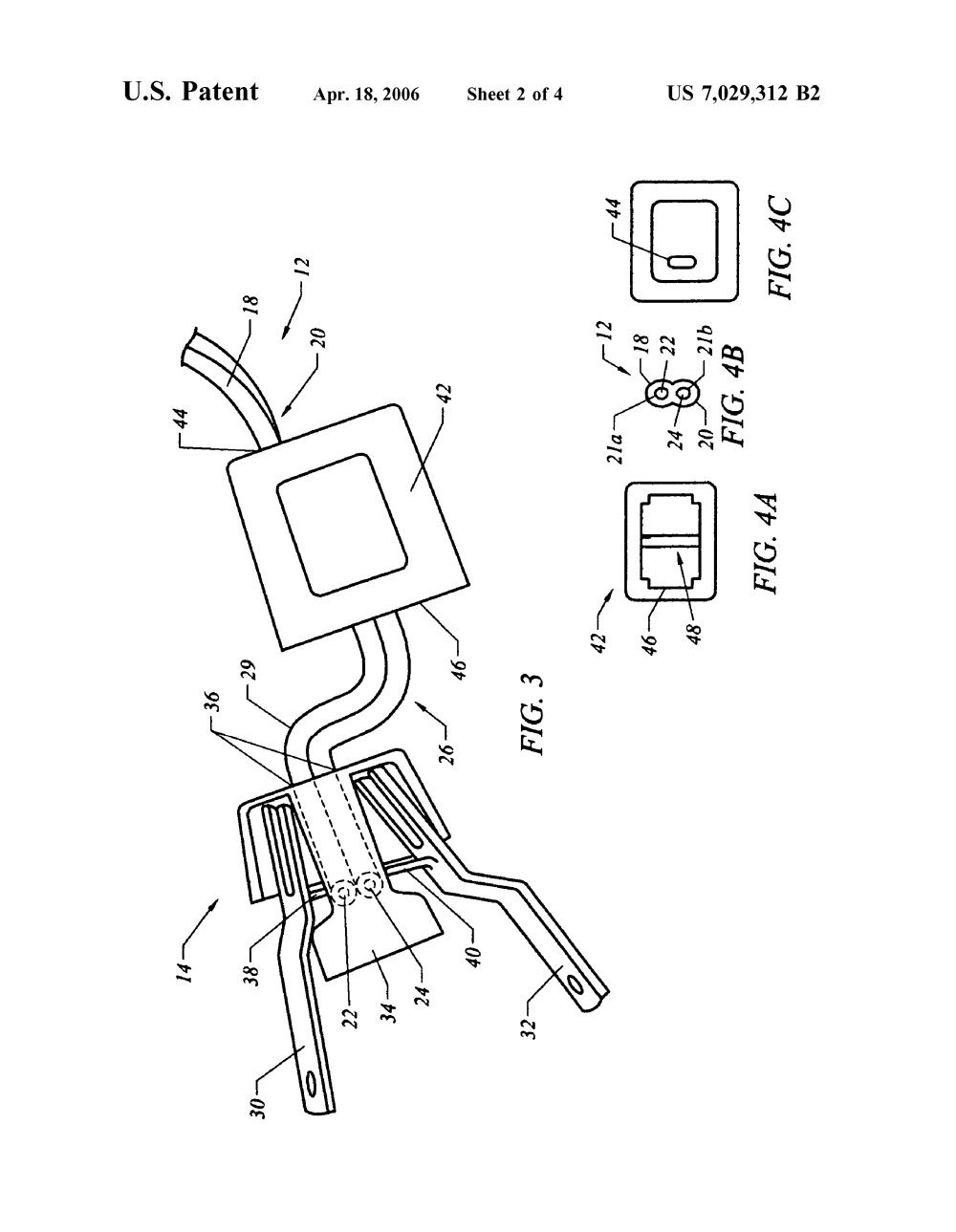 medium resolution of us 7029312 b2 double male two prong electrical connector apparatus wiring a 4 prong plug to a 3 prong plug along with patent us7029312