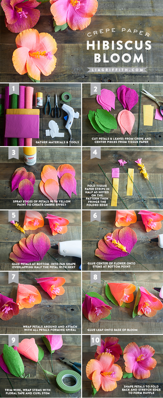 how to make paper hibiscus flower