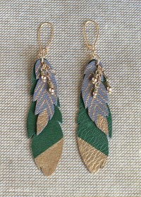 DIY Leather Feather Earrings - Lia Griffith