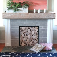 DIY Birch Wood Fireplace Cover - Lia Griffith