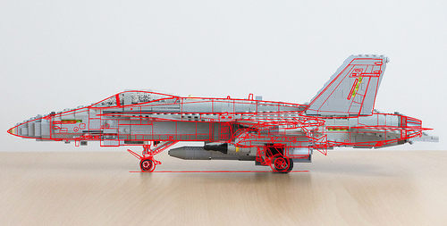 Lego F/A-18 model and line-drawing comparison