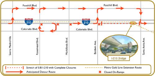 Mapa de la desviación en la autopista 210.