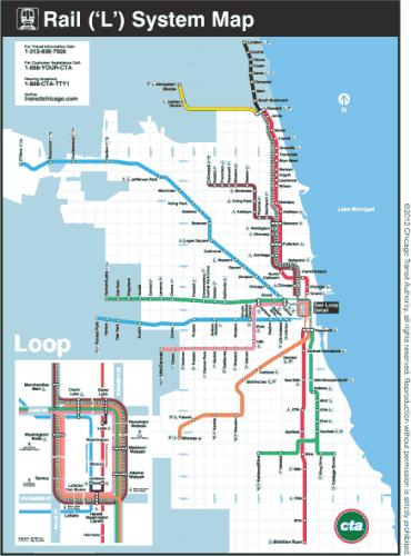 Las ocho líneas de trenes de CTA. Gráfica: transitchicago.com