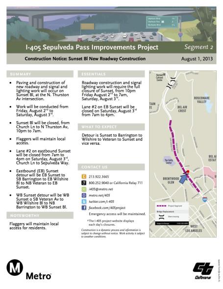 Página informativa sobre el cierre del bulevar Sunset