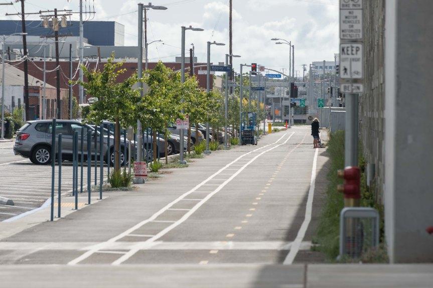 Vía para ciclistas que corre a lo largo de la Línea Expo. Foto: Steve Hamon/Metro.