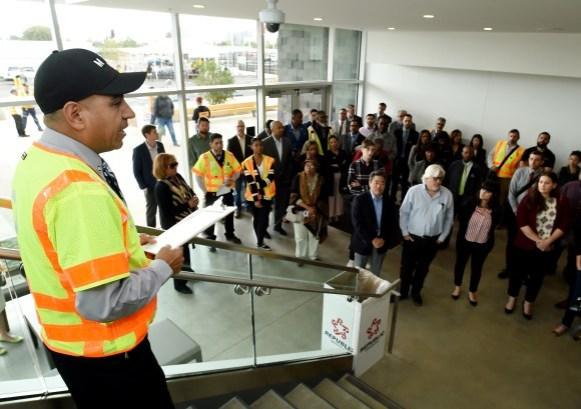 LOS ANGELES, CA - APRIL 3: Crenshaw/LAX Transit Project Southwestern Yard ribbon cutting ceremony on April 3, 2019 at Southwestern Yard in Los Angeles, California.