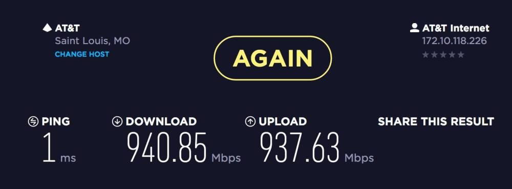 medium resolution of so i just upgraded from the cable companies internet with a 100 5mb plan over to at t u verse and their gigabit 1000mb symmetric plan