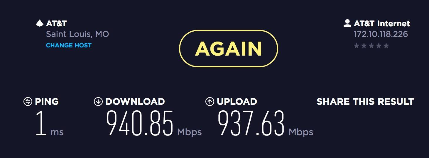 hight resolution of so i just upgraded from the cable companies internet with a 100 5mb plan over to at t u verse and their gigabit 1000mb symmetric plan