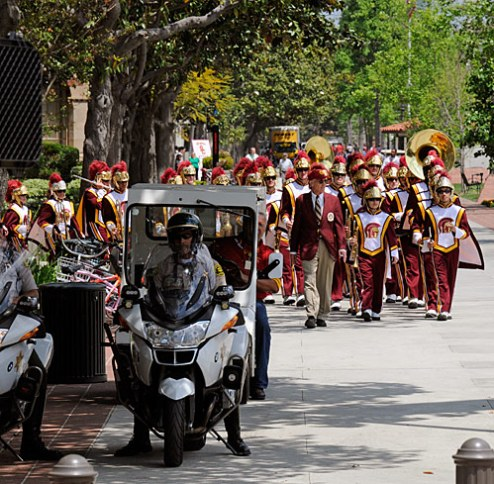 Enter stage left: The USC Marching Band. Photo Gary Leonard