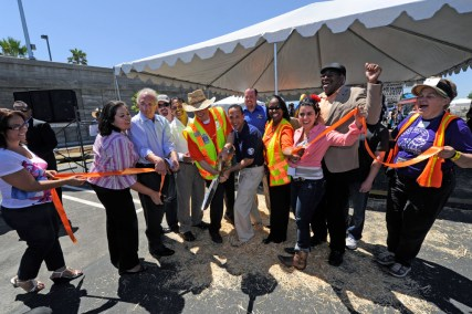 Los Angeles City Councilman Mitch Englander leads the ribbon-cutting at Chatsworth Station.