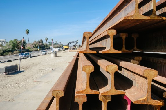 Rails that will be used to construct track in the median of the 210 freeway in Arcadia. Photos by Steve Hymon/Metro.
