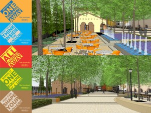 The station area would get a complete makeover -- goodbye pavement, hello trees and green space! Rendering: city of Monrovia.