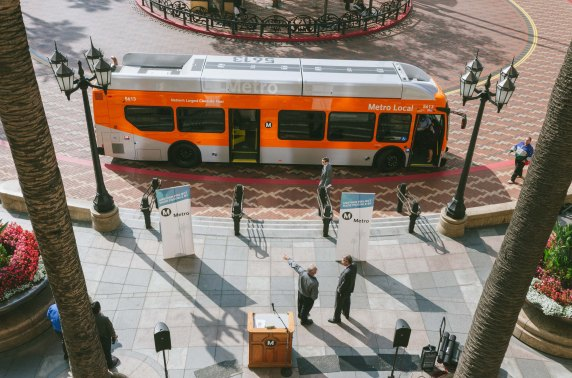 The New Flyer bus at today's media event. Photos by Steve Hymon/Metro.